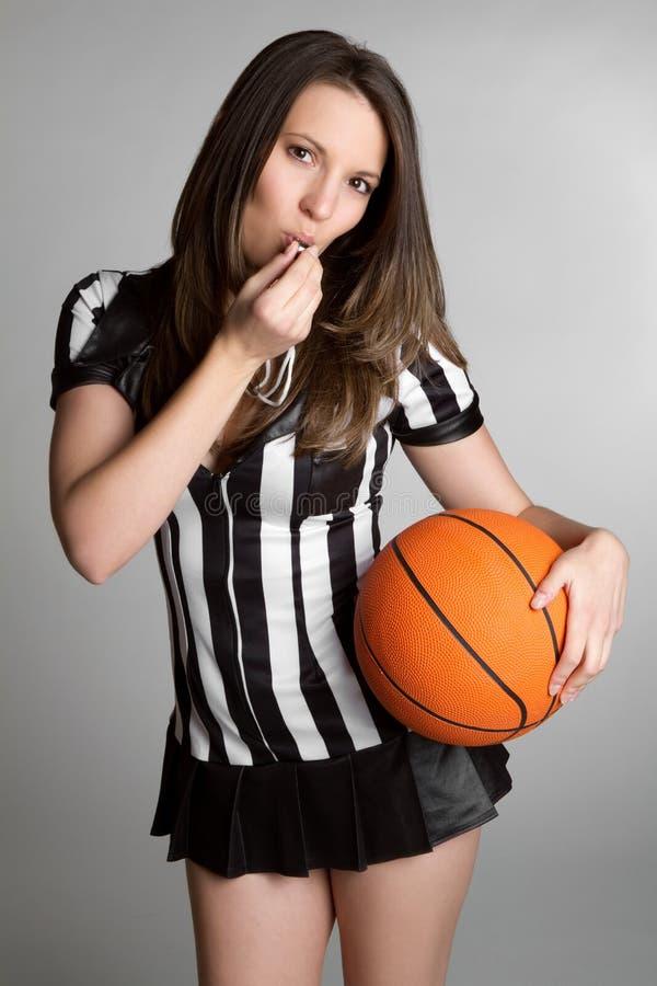 Basketball Referee. Woman referee holding basketball stock photos