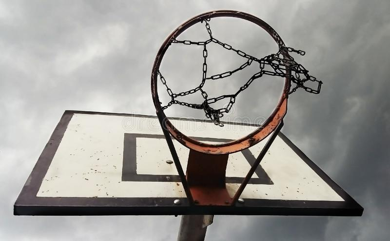 Basketball Ring With Cloudy Sky from Below stock image
