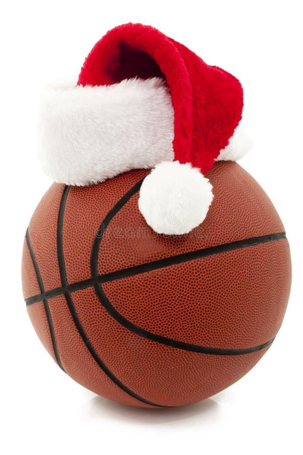 Basketball with Santa Hat stock photos