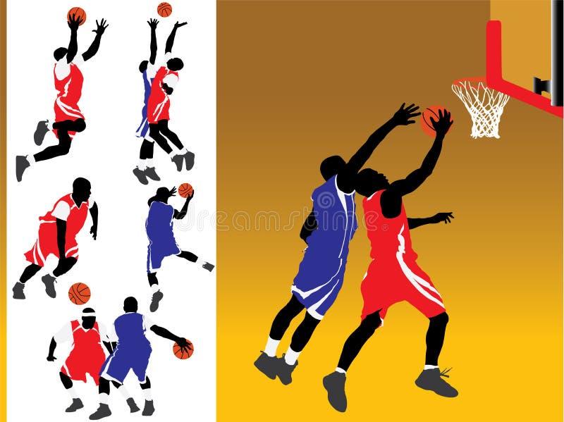 Basketball-Schattenbild-Vektoren stock abbildung