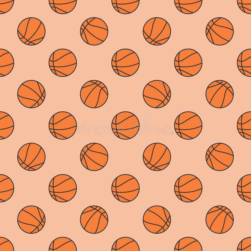 Basketball seamless pattern. Vector flat sport texture or background made with basketball balls royalty free illustration