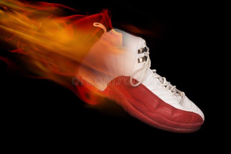 Basketball Shoe on Fire stock photos