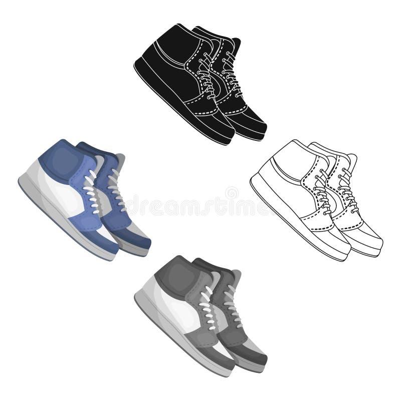 Basketball shoes.Basketball single icon in cartoon,black style vector symbol stock illustration web. stock illustration
