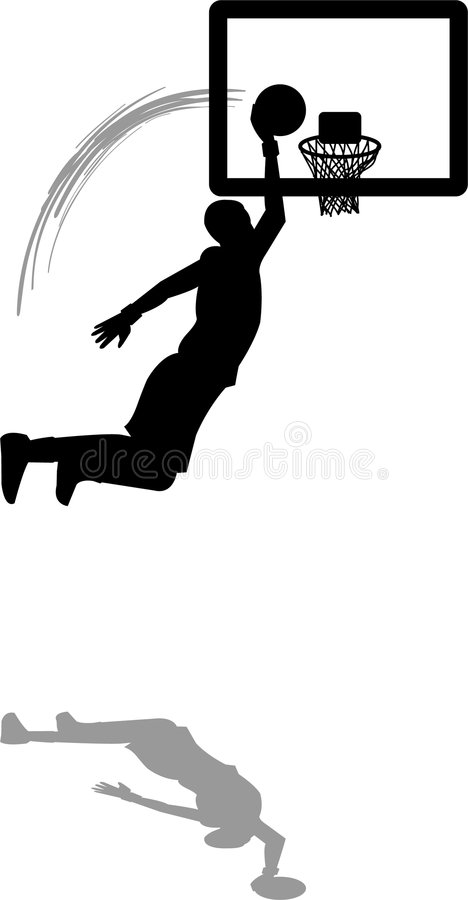Basketball Slam Dunk. Illustration of a basketball player dunking the ball
