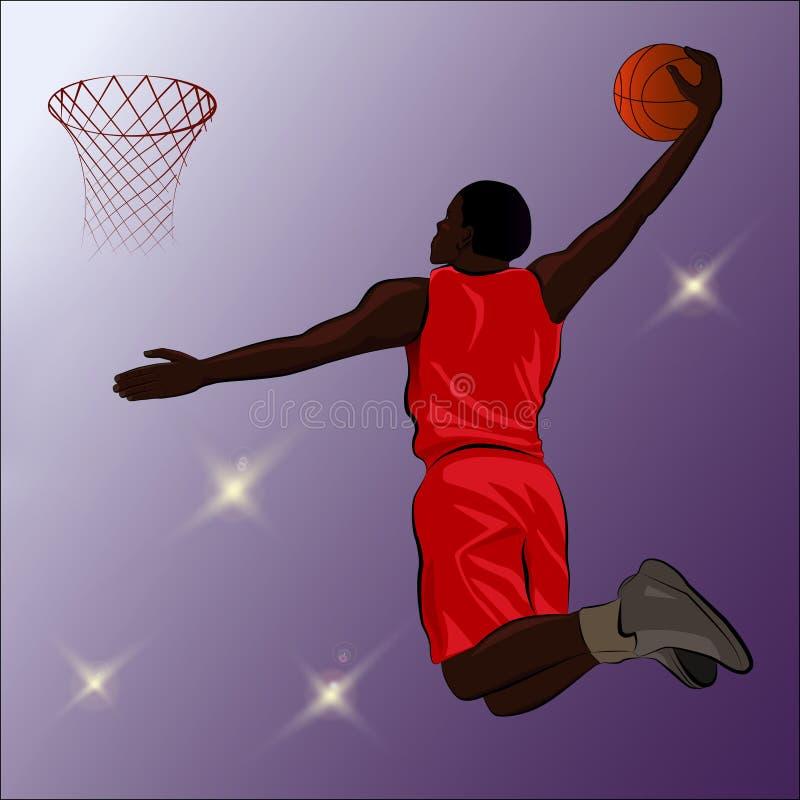 Basketball Slam Dunk - Illustration Stock Image
