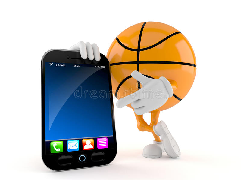 Basketball with smart phone royalty free illustration