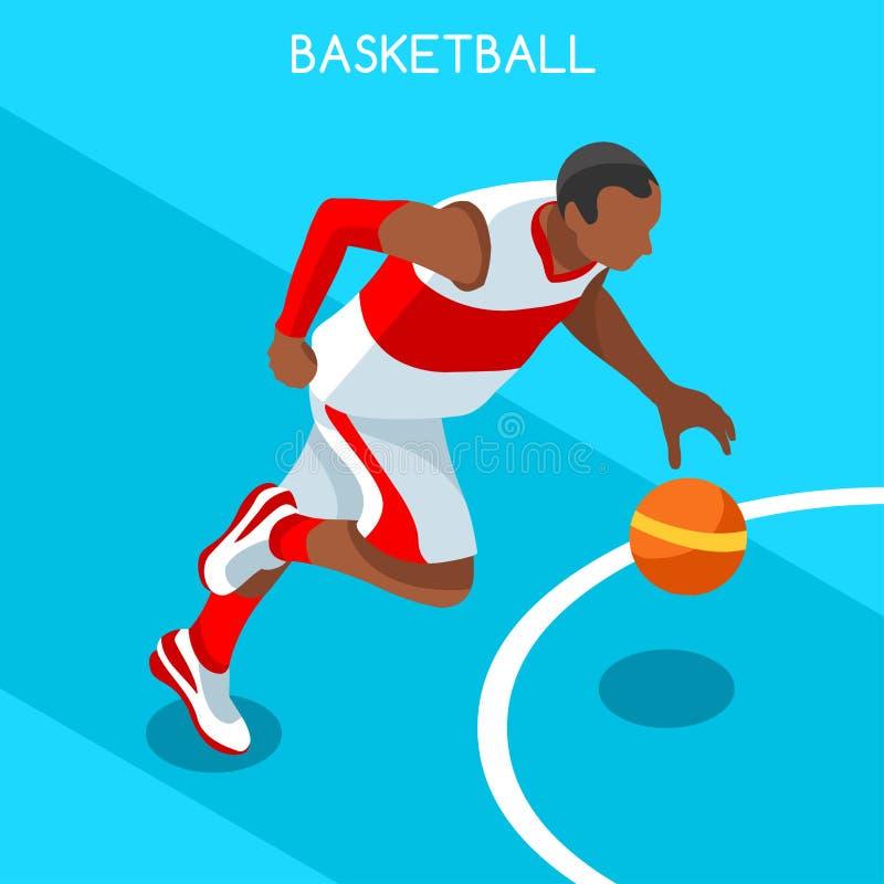 Basketball-Spieler-Athleten-Summer Games Icon-Satz isometrischer schwarzer Athlet des Basketball-Spieler-3D lizenzfreie abbildung