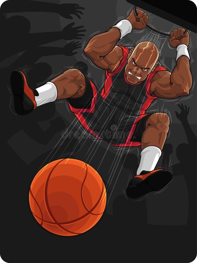 Basketball-Spieler, der Slam Dunk tut stock abbildung