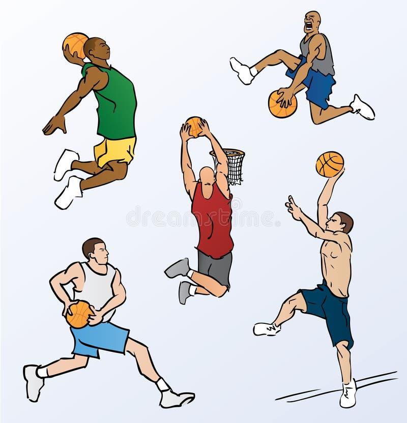 Basketball-Spieler-Eintauchen stock abbildung