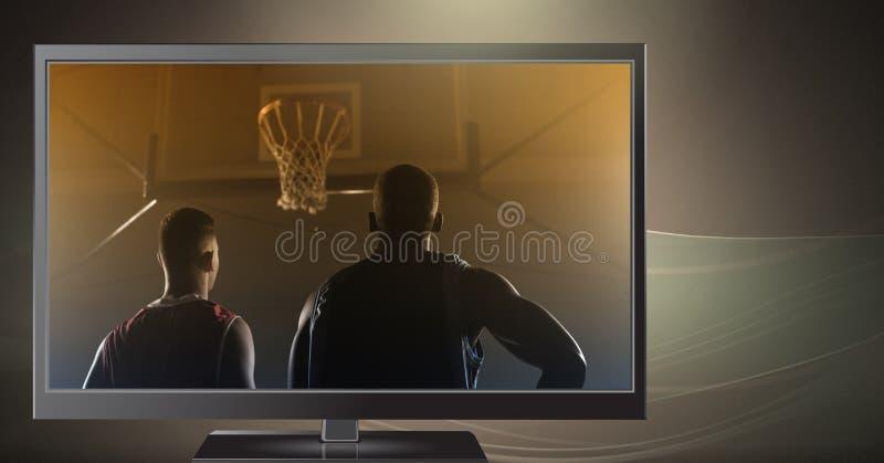 Basketball-Spieler im Fernsehen lizenzfreies stockfoto