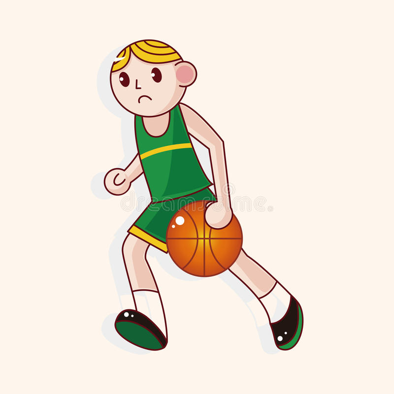 Basketball-Spieler-Karikatur-Elementvektor, ENV lizenzfreie abbildung