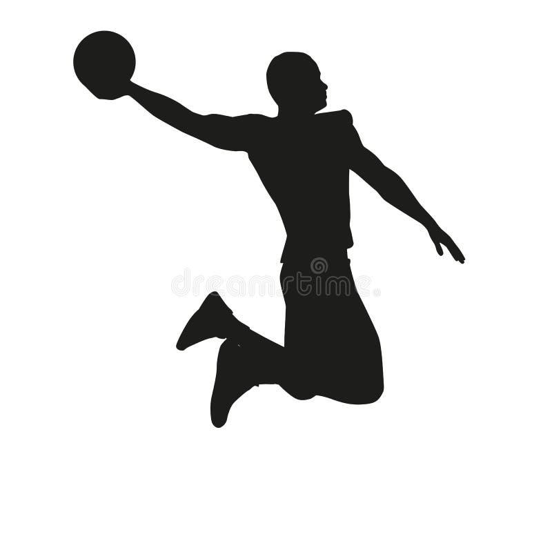 Basketball-Spieler lokalisiert auf weißem Hintergrund lizenzfreie abbildung