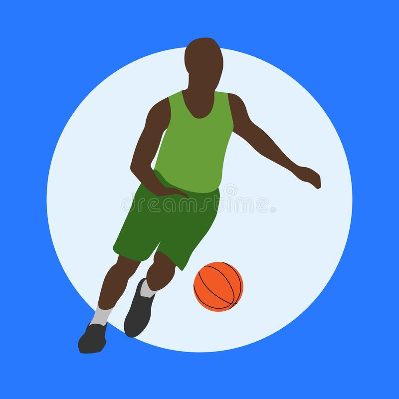 Basketball-Spieler mit Kugel lizenzfreie abbildung