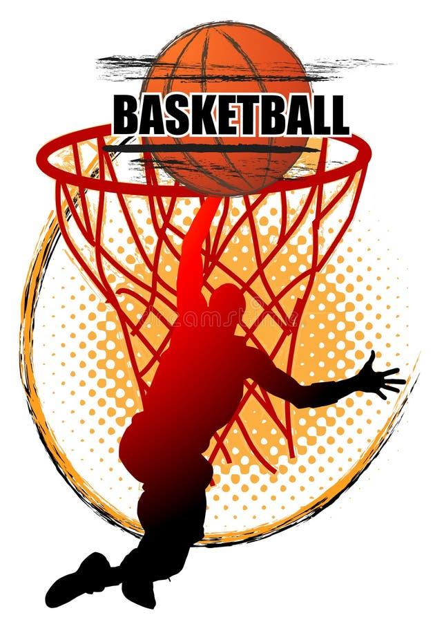 Basketball-Spieler springt, um den Ball auf weißem Hintergrund zu schießen vektor abbildung