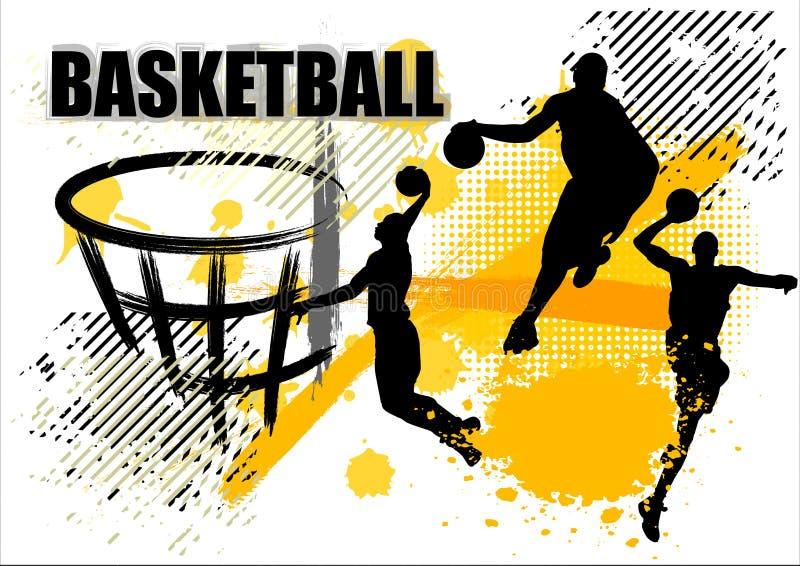 Basketball-Spieler-Team auf weißem Schmutzhintergrund vektor abbildung