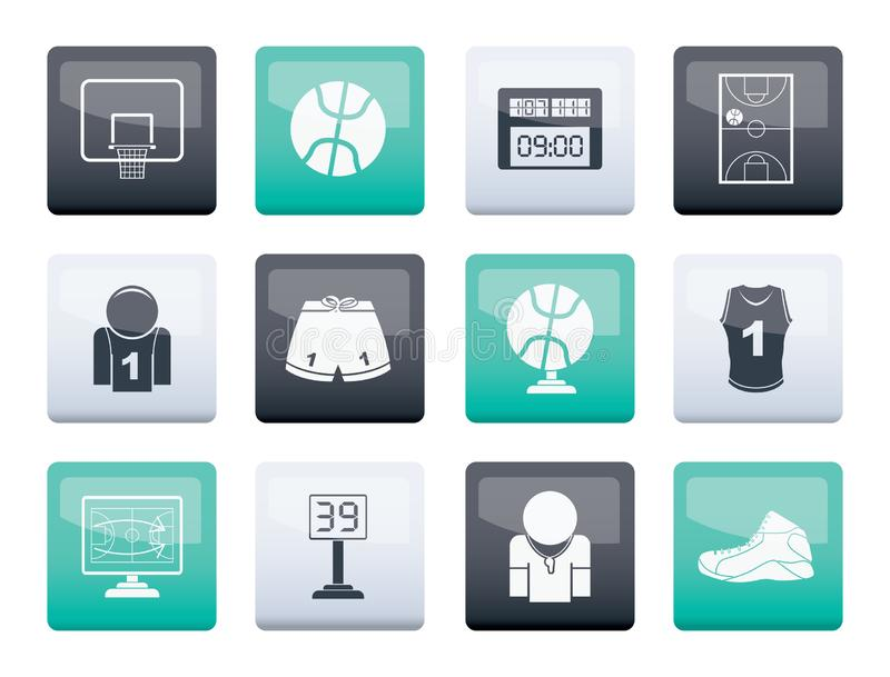 Basketball and sport icons over color background. Vector Icon Set royalty free illustration