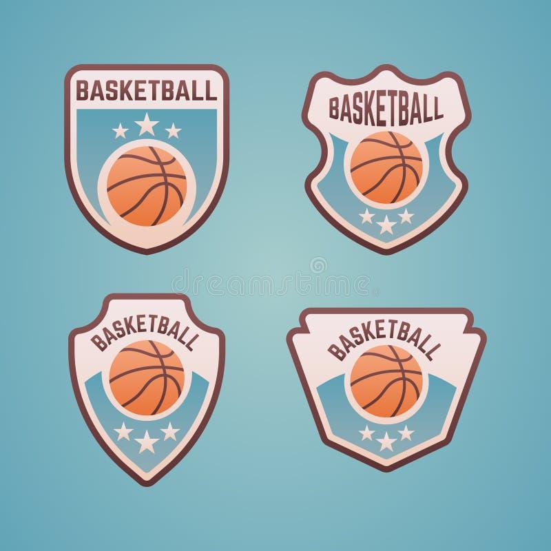 Basketball sport team vector colored emblems. Basketball sport team set of vector emblems, labels, badges stock illustration