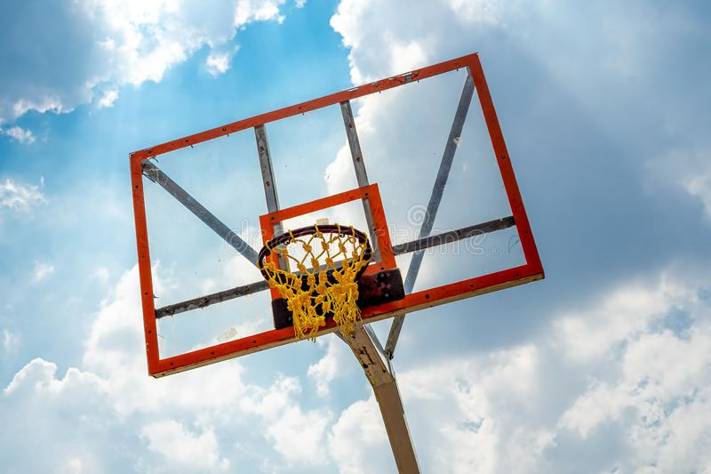 Basketball Steel Rim with Transparent Acrylic Backboard and Orange Plastic Rope Net stock images