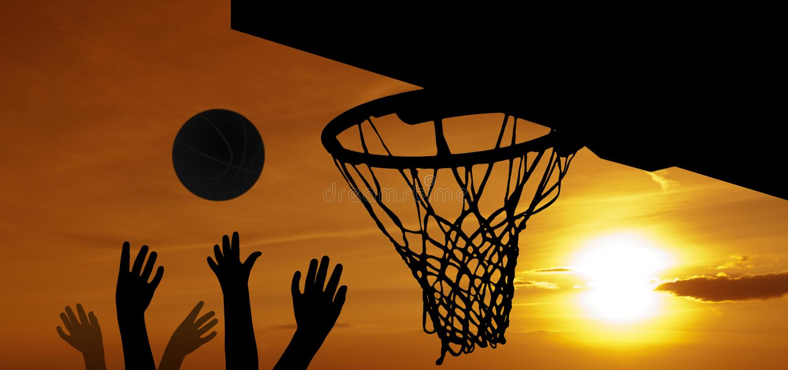 Download Basketball at sunset stock illustration. Illustration of jumping - 19671601