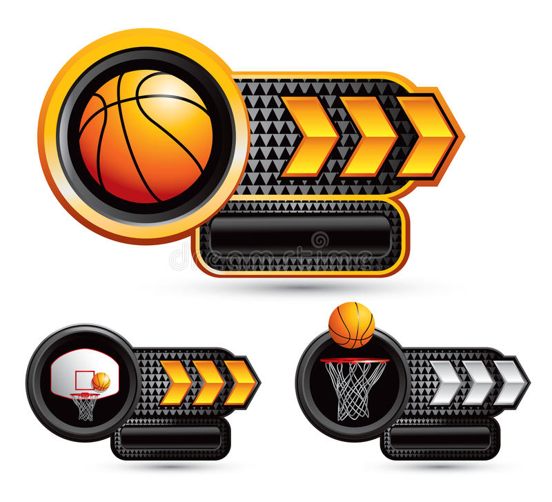 Free Basketball Symbols On Arrow Nameplates Stock Photography - 20114822