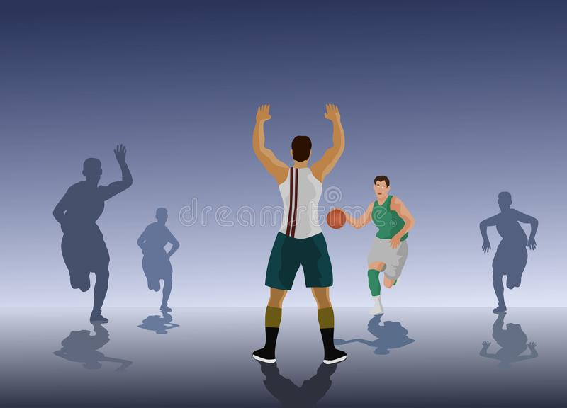 The basketball team is competing.Basketball player`s silhouette,black background stock illustration