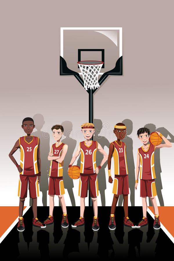 Basketball team players royalty free illustration