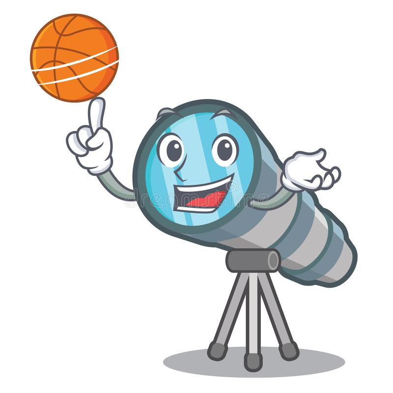With basketball telescope isolated with in the mascot. Vector illustration stock illustration