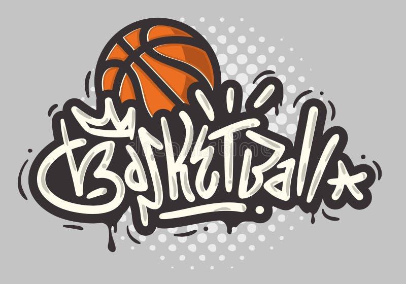 Basketball-themenorientierte Handgezogene Bürste, die Kalligraphie-Graffiti-Umbau-Art-Art Entwurfs-Vektor-Grafik beschriftet lizenzfreie abbildung