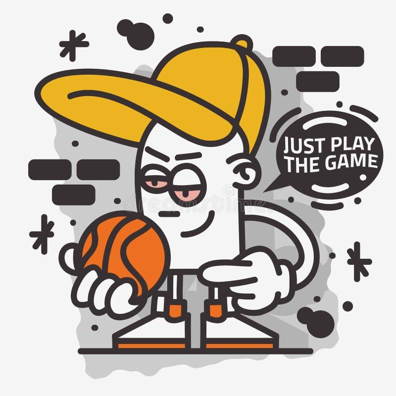 Basketball-themenorientierte Straßen-Art Graffiti Aesthetic Cartoon Mascot-Charakter-T-Shirt Druck-Entwurfs-Vektor-Grafik lizenzfreie abbildung