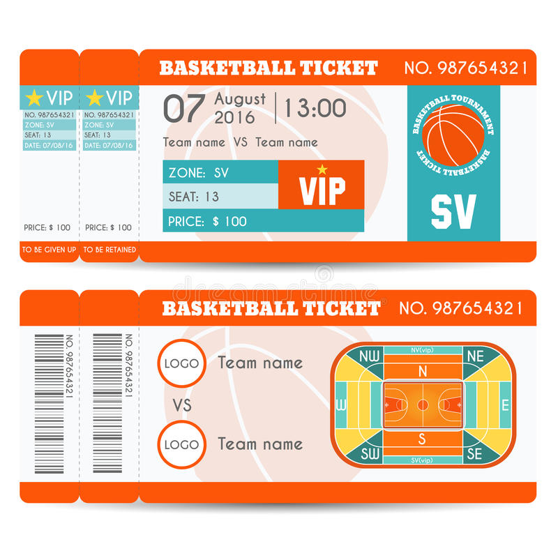 Basketball Ticket Modern Design stock illustration