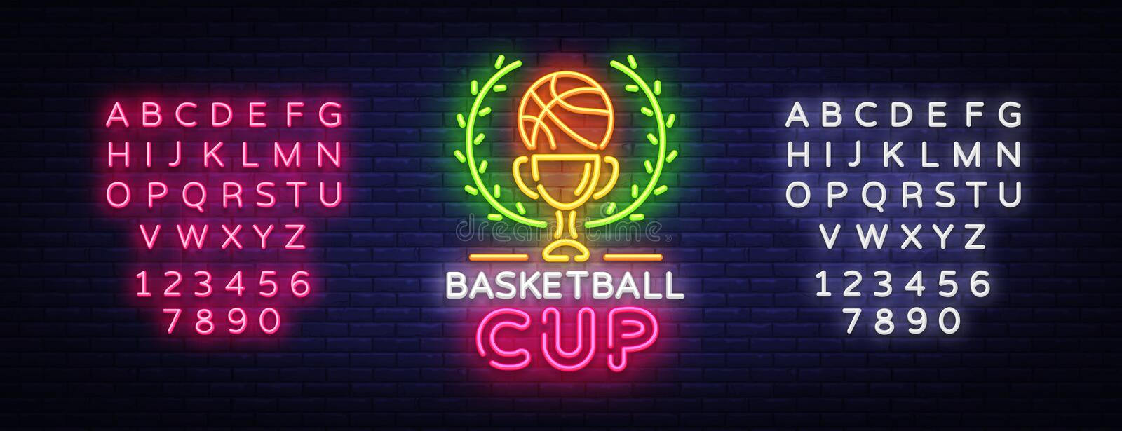 Basketball Tourament Night Neon Logo Vector. Basketball Cup neon sign, design template, modern trend design, sports neon vector illustration