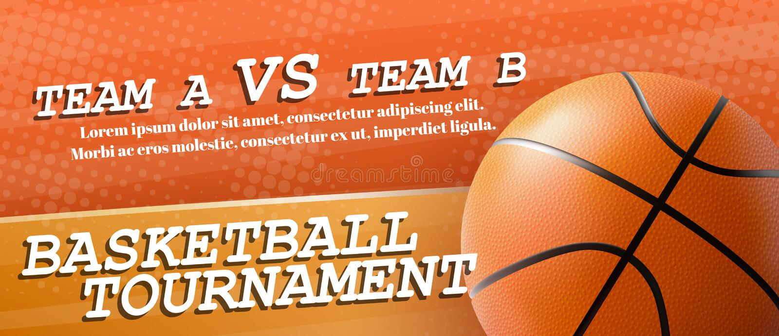 Basketball tournament ad flyer realistic vector. Basketball tournament, sport teams competition, student league championship 3d realistic vector horizontal royalty free illustration