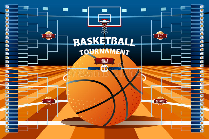 Basketball Tournament Bracket Template stock illustration