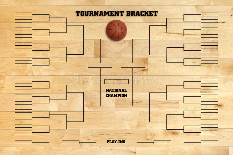 Basketball tournament bracket on wood gym floor. Basketball tournament bracket superimposed on a wood gym floor stock photography