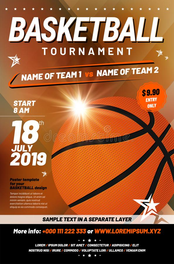 Basketball tournament poster template with sample text vector illustration