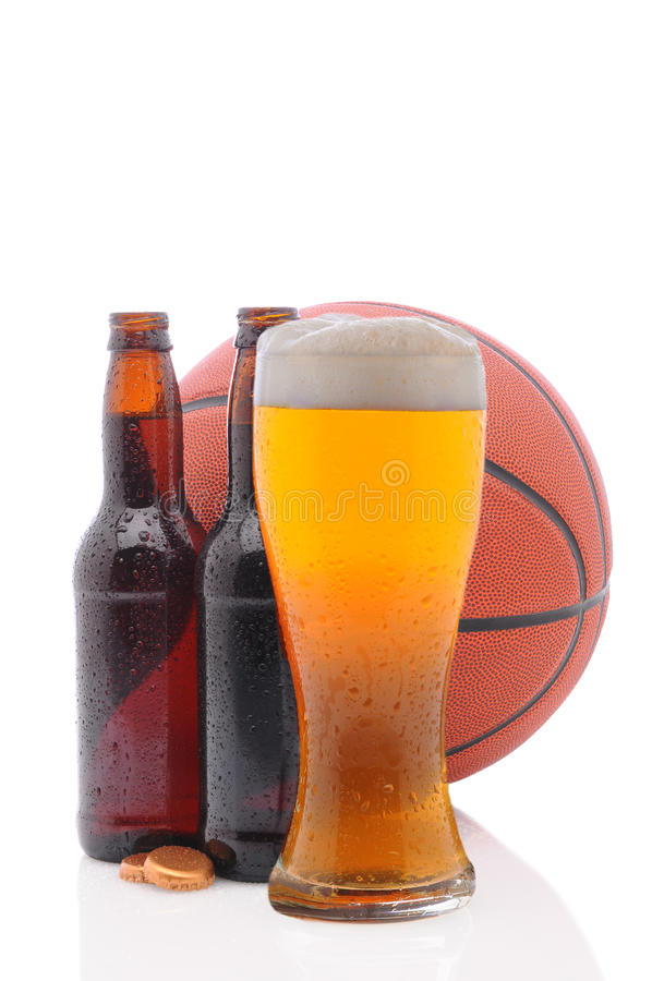 Download Basketball And Two Beer Bottles And Glass Stock Image - Image: 18997881