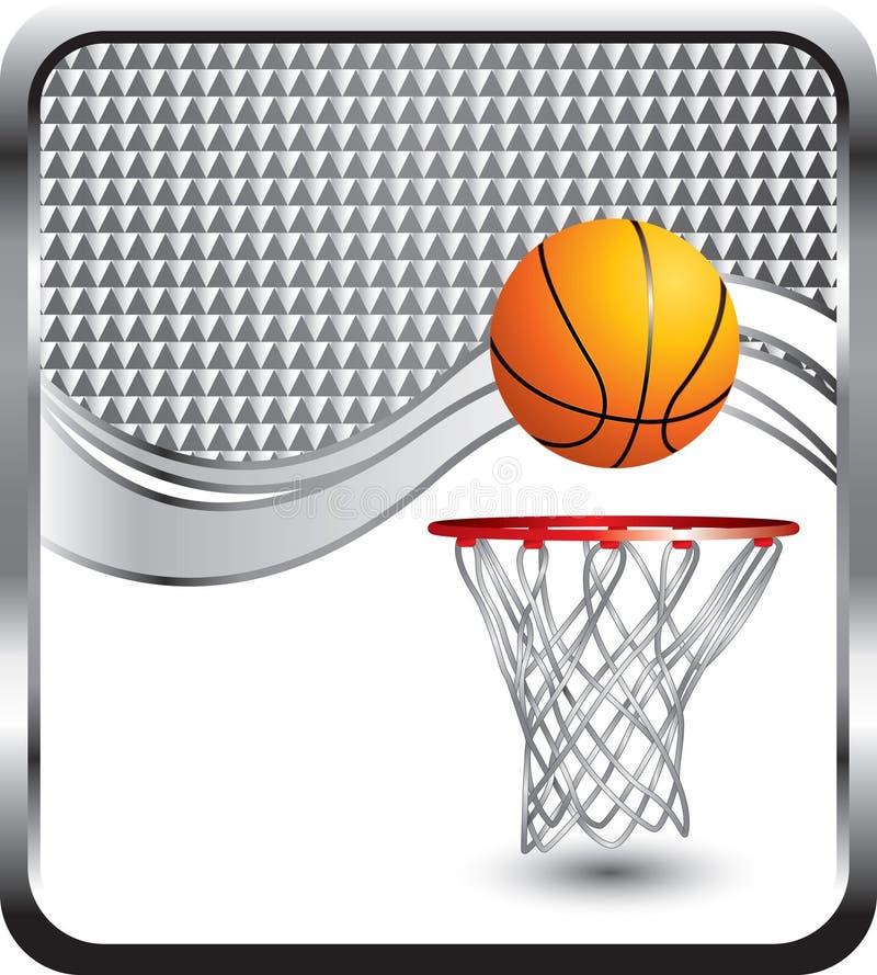 Basketball und Band auf silberner checkered Anzeige lizenzfreie abbildung