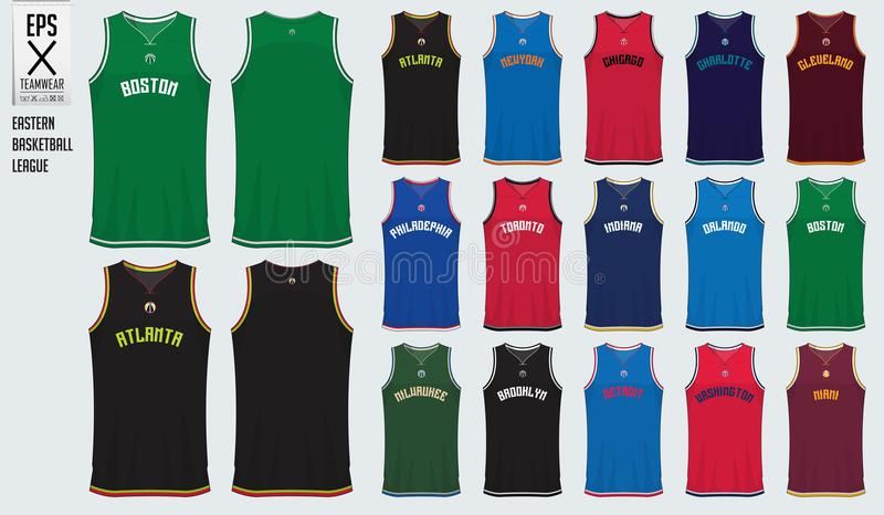 Basketball uniform template design. Tank top t-shirt mockup for basketball club in USA Eastern basketball division. Front view and back view sport jersey vector illustration
