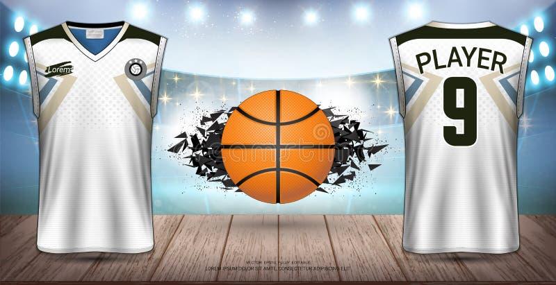 Basketball-Uniformen u. Trikots, Trägershirts und ärmellose Hemden tragen Modell-Schablone zur Schau lizenzfreie abbildung