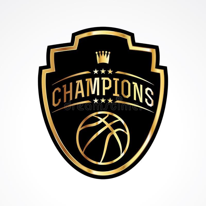 Basketball verficht Ausweis-Emblem-Illustration lizenzfreie abbildung