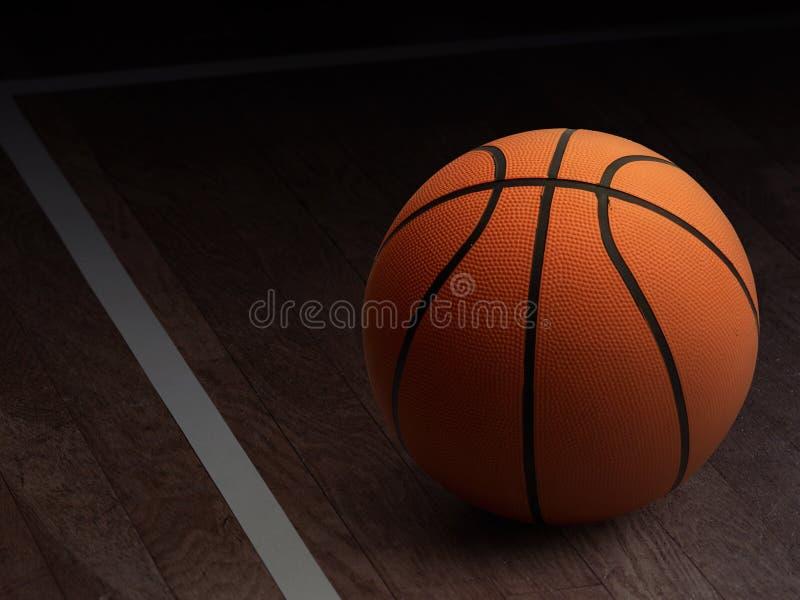 Basketball on wood stock image