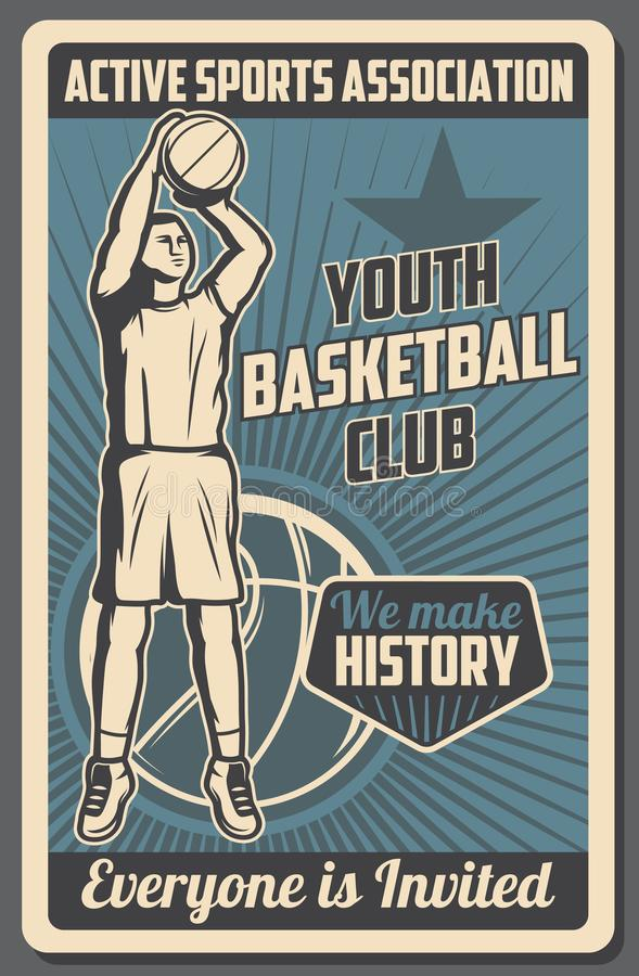 Basketball youth sports club association. Basketball club vintage poster, youth school and college team league streetball tournament and training. Vector stock illustration