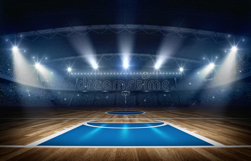 Basketballarena, Wiedergabe 3d stock abbildung