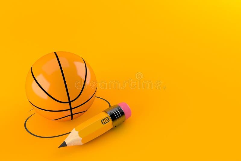 Basketballball mit Bleistift vektor abbildung