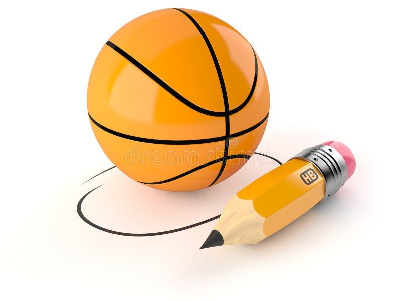 Basketballball mit Bleistift lizenzfreie abbildung
