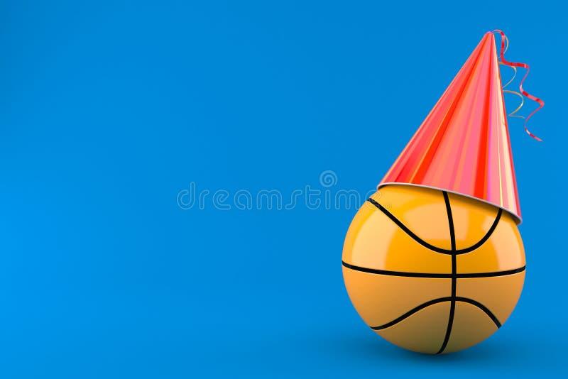 Basketballball mit Parteihut vektor abbildung