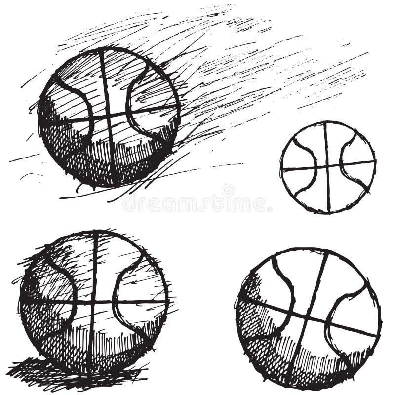 Basketballball-Skizzensatz lokalisiert auf weißem Hintergrund lizenzfreie abbildung