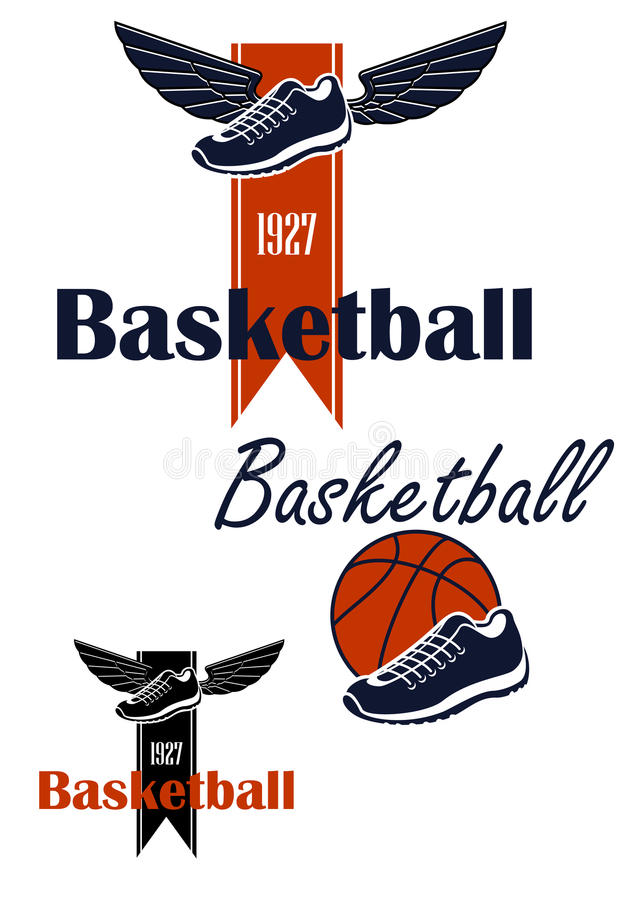 Basketballball und geflügeltes Turnschuhsymbol vektor abbildung