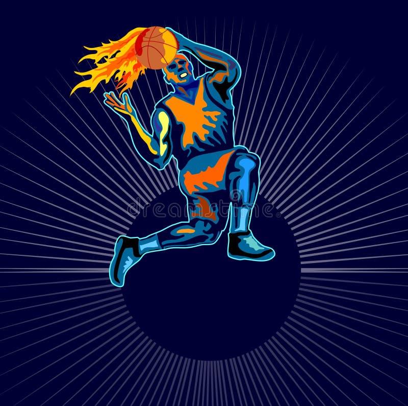 Basketballer pone encima de flamear stock de ilustración