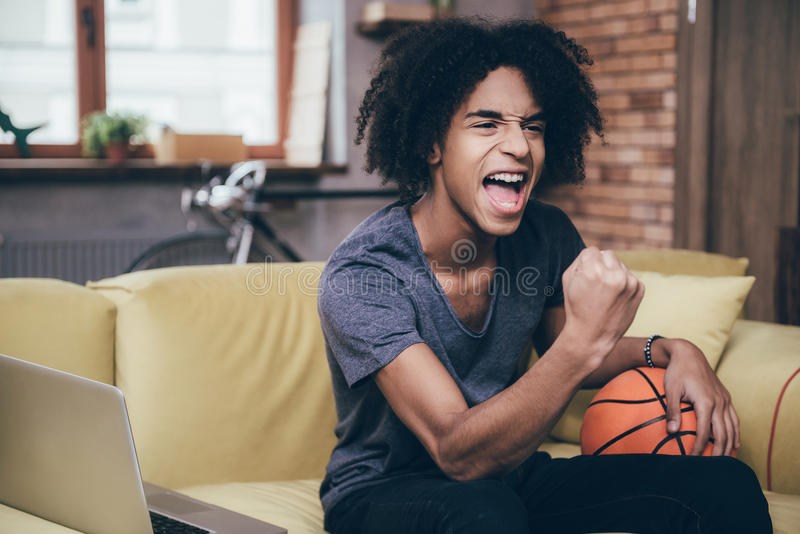 Basketballfan stockbilder